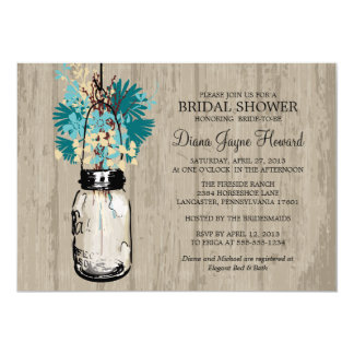 Rustic Wood Mason Jar  Wildflowers Bridal Shower Card