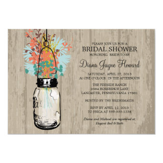 Rustic Wood Mason Jar  Wildflowers Bridal Shower Invitations