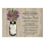Rustic Wood Mason Jar  Wildflowers Bridal Shower 5x7 Paper Invitation Card