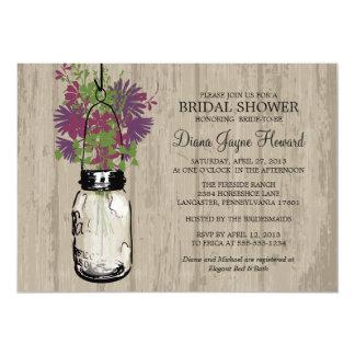 Rustic Wood Mason Jar  Wildflowers Bridal Shower 5x7 Paper Invitation Card
