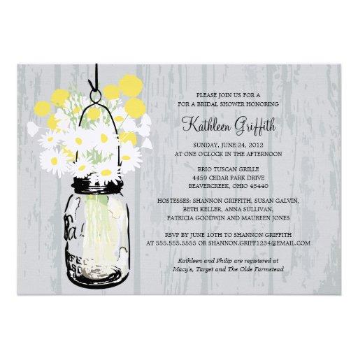 Rustic Wood Mason Jar Wildflowers Personalized Invite