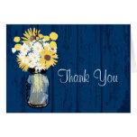 Rustic Wood Mason Jar Wildflowers Stationery Note Card