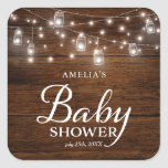 Rustic Wood Mason Jars and Lights Baby Shower Square Sticker