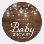 Rustic Wood Mason Jars Lights Baby Shower Classic Round Sticker