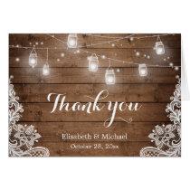 Rustic Wood Mason Jars Lights Lace Thank You