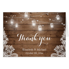 Rustic Wood Mason Jars Lights Lace Thank You Card