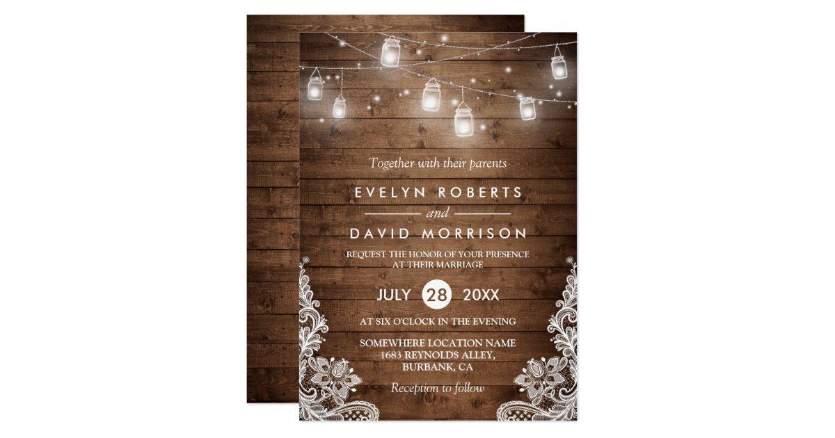 String Of Lights Mason Jars Vintage Wedding : Rustic Wood Mason Jars String Lights Lace Wedding Card Zazzle.com