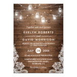 Rustic Wood Mason Jars String Lights Lace Wedding Card at Zazzle