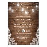 Rustic Wood Mason Jars String Lights Lace Wedding Card