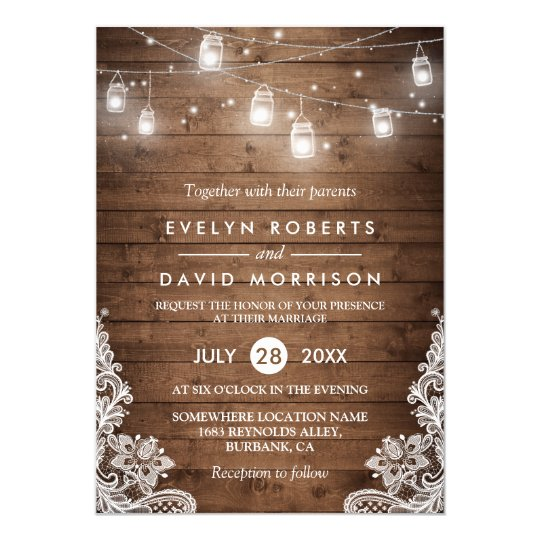 Rustic wedding invitations zazzle rustic wood mason jars string lights lace wedding card stopboris Images