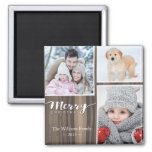 Rustic Wood Merry Christmas 2 Inch Square Magnet