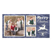 Rustic Wood Merry Christmas Reindeer Family Photos Card