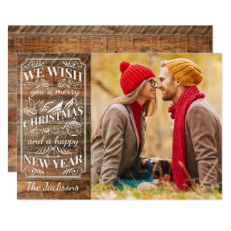 Rustic Wood Merry Christmas Typography Photo Card