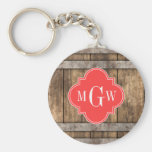 Rustic Wood Metal Band Coral Quatrefoil 3 Monogram Basic Round Button Keychain