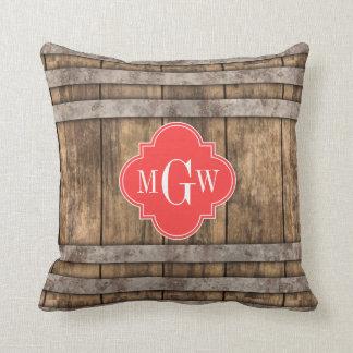 Rustic Wood Metal Band Coral Quatrefoil 3 Monogram Throw Pillows