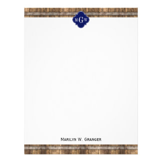 Rustic Wood Metal Band Navy Quatrefoil 3 Monogram Letterhead