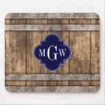 Rustic Wood Metal Band Navy Quatrefoil 3 Monogram Mouse Pad