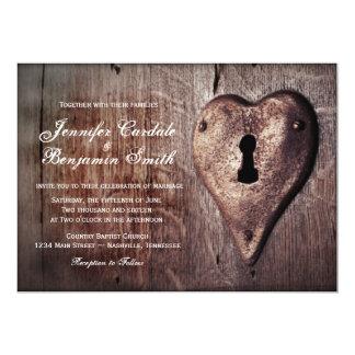 Rustic Wood Metal Heart Lock Wedding Invitations