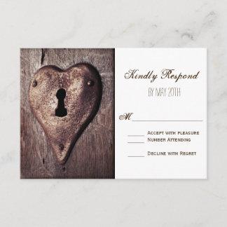 Rustic Wood Metal Heart Wedding RSVP Cards