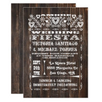 Rustic Wood Mexican Wedding Papel Picado Invitation