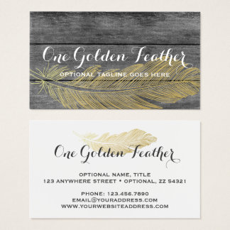rustic wood u0026amp modern gold feather bohemian chic business card