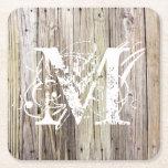 Rustic Wood Monogrammed Coasters
