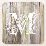 "Rustic Wood Monogrammed Coasters<br><div class=""desc"">Detailed photograph of weathered old boards on a dock. Shows wood grain, knots, and aging in these beautiful boards that have been exposed to sun, moisture and salt for many years. Add a custom monogram in a Lacy weathered look and you"