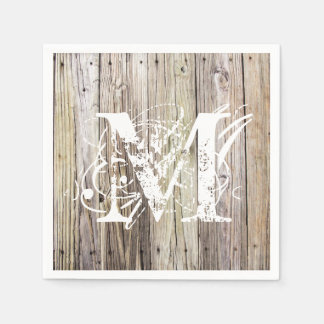 Rustic Wood Monogrammed Cocktail Napkins