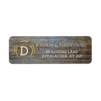 Rustic Wood Monogrammed | Country Western Wedding Label
