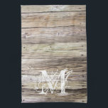 "Rustic Wood Monogrammed Kitchen Towel<br><div class=""desc"">Detailed photograph of weathered old boards on a dock. Shows wood grain, knots, and aging in these beautiful boards that have been exposed to sun, moisture and salt for many years. Add a custom monogram in a Lacy weathered look and you&#39;ve got rustic elegance of shabby chic for any cowgirl...</div>"