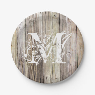 Rustic Wood Monogrammed Paper Plates