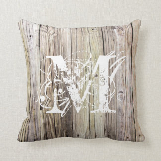 Rustic Wood Monogrammed Pillow
