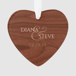 Rustic Wood Monogrammed Wedding Keepsake Heart Ornament