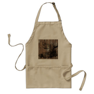 Rustic wood moose adult apron
