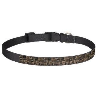 Rustic wood moose bear pattern pet collar