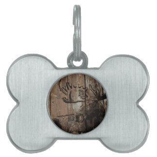 Rustic wood moose pet tag