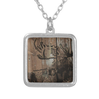 Rustic wood moose silver plated necklace