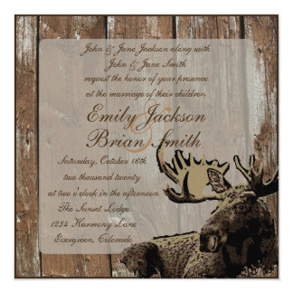 Rustic wood moose square wedding invitations