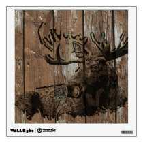 Rustic wood moose wall cling decoration wall sticker