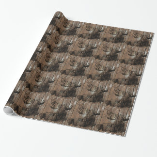 Rustic wood moose wrapping paper