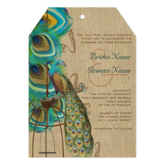 Rustic Wood Musical Peacock Bird Cage Feather 5x7 Paper Invitation Card