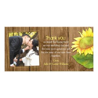 Rustic Wood n Sunflower Wedding Thank You Card