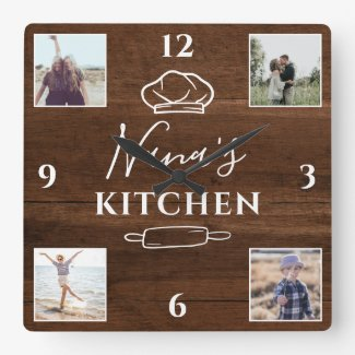 Rustic wood Nana kitchen script 4 photo collage Square Wall Clock