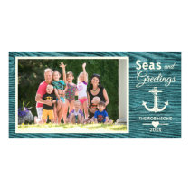 Rustic Wood Nautical Anchor Family Christmas Photo Card