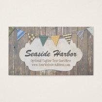Rustic Wood Nautical Bunting - Seaside Harbor Business Card