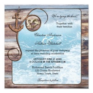 Rustic Wood Ocean Nautical Wedding Invitation