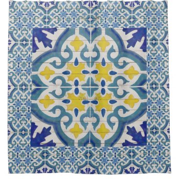 Beach Themed Rustic Wood Old Havana Tile Pattern Painted Blue Shower Curtain