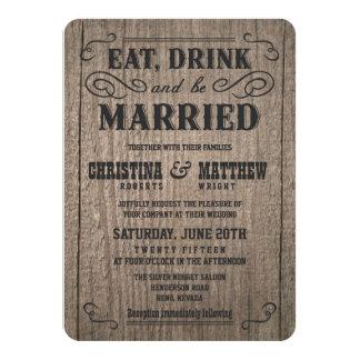 "Rustic Wood Old Western Wedding Invitations 4.5"" X 6.25"" Invitation Card"