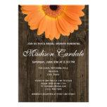 Rustic Wood Orange Daisy Bridal Shower Invitation Personalized Invitations