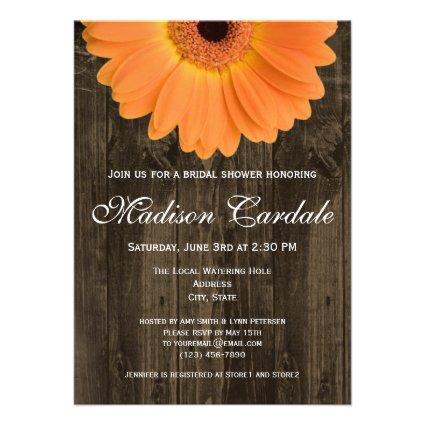 Rustic Wood Orange Daisy Bridal Shower Invitation